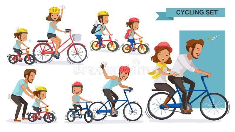Jeździć na rowerze pary ilustracja wektor
