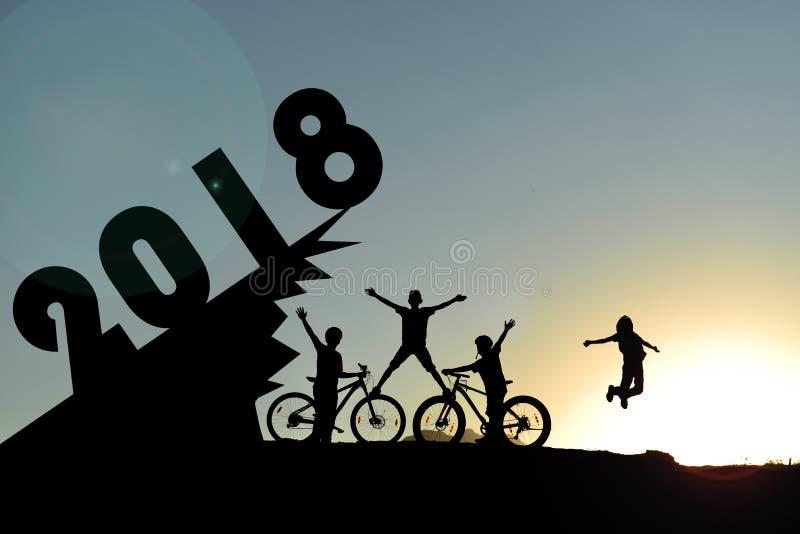 2018 jeździć na rowerze rok i ilości pokolenia zdjęcia royalty free