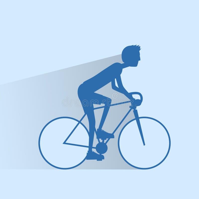 Jeździć na rowerze sporta mężczyzna rowerową sylwetkę, drogowy rower ilustracja wektor