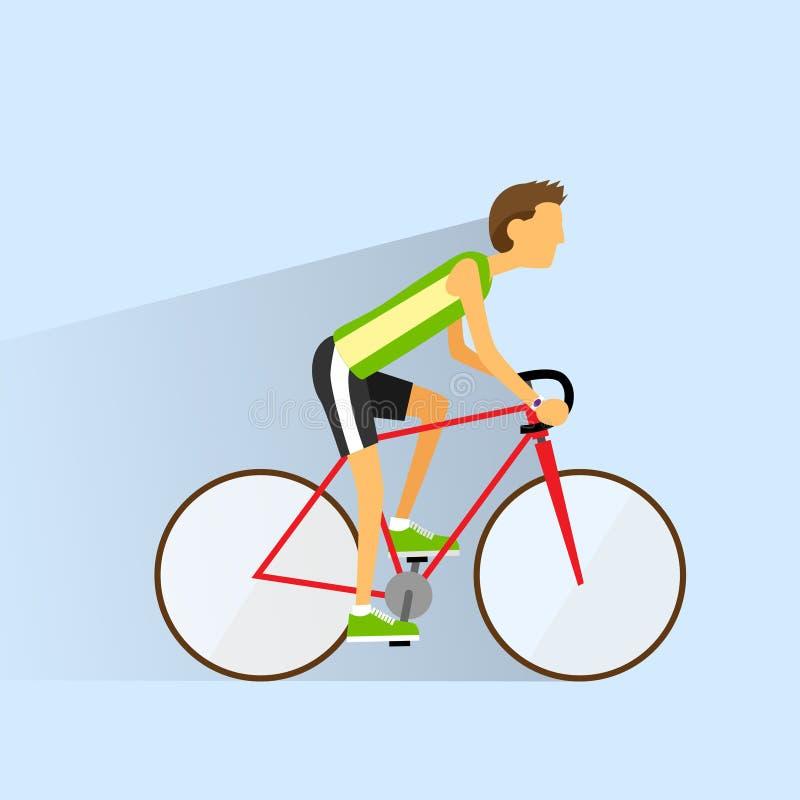 Jeździć na rowerze sporta rowerowego mężczyzna, drogowi rowerów jeźdzowie płascy royalty ilustracja