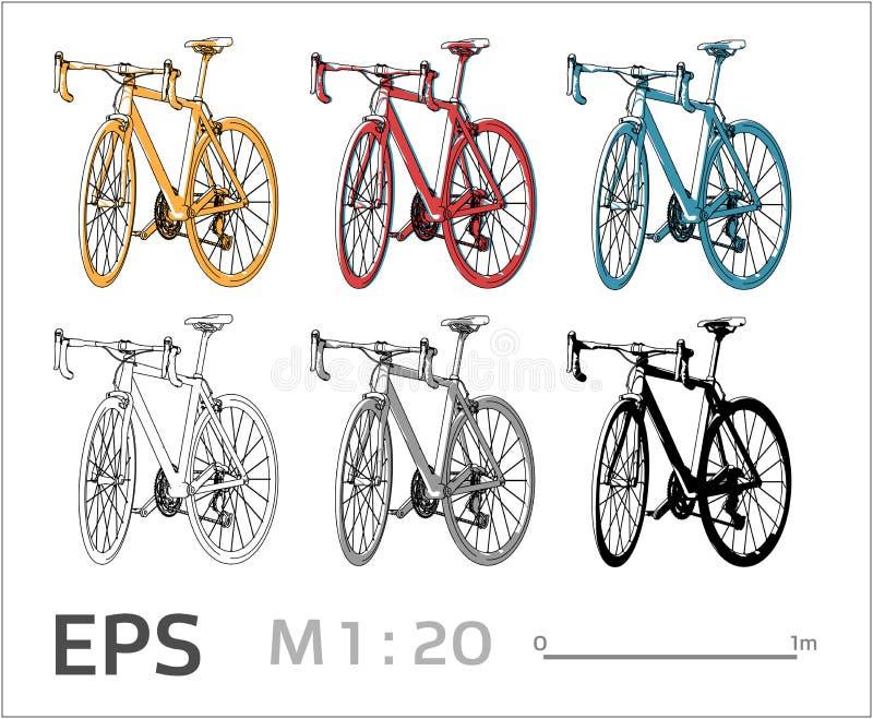 Jeździć na rowerze wektorowe ikony ustawiać dla architektonicznego rysunku i ilustracji royalty ilustracja