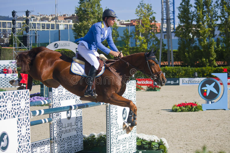 Jeździec AHLMANN, chrześcijanin Niemcy CSIO Barcelona zdjęcie royalty free
