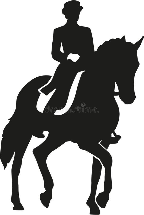 Jeździec jedzie dressage konia ilustracji