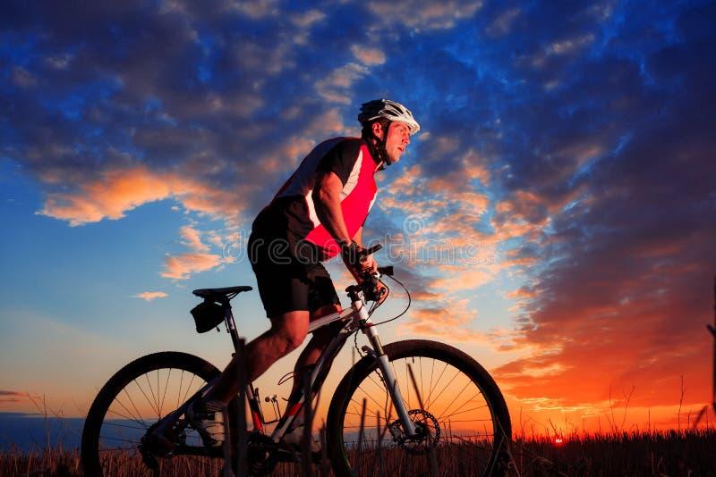 Jeździec w akci przy stylu wolnego roweru górskiego sesją zdjęcie stock