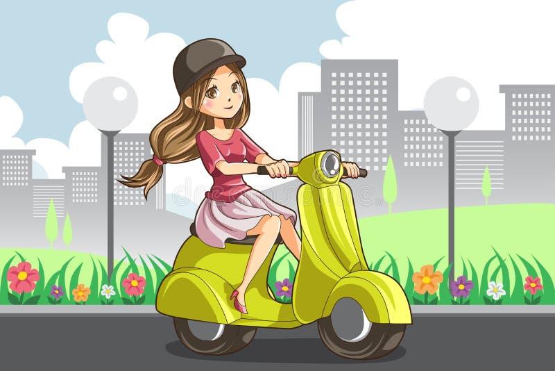 Jeździecka dziewczyny hulajnoga royalty ilustracja