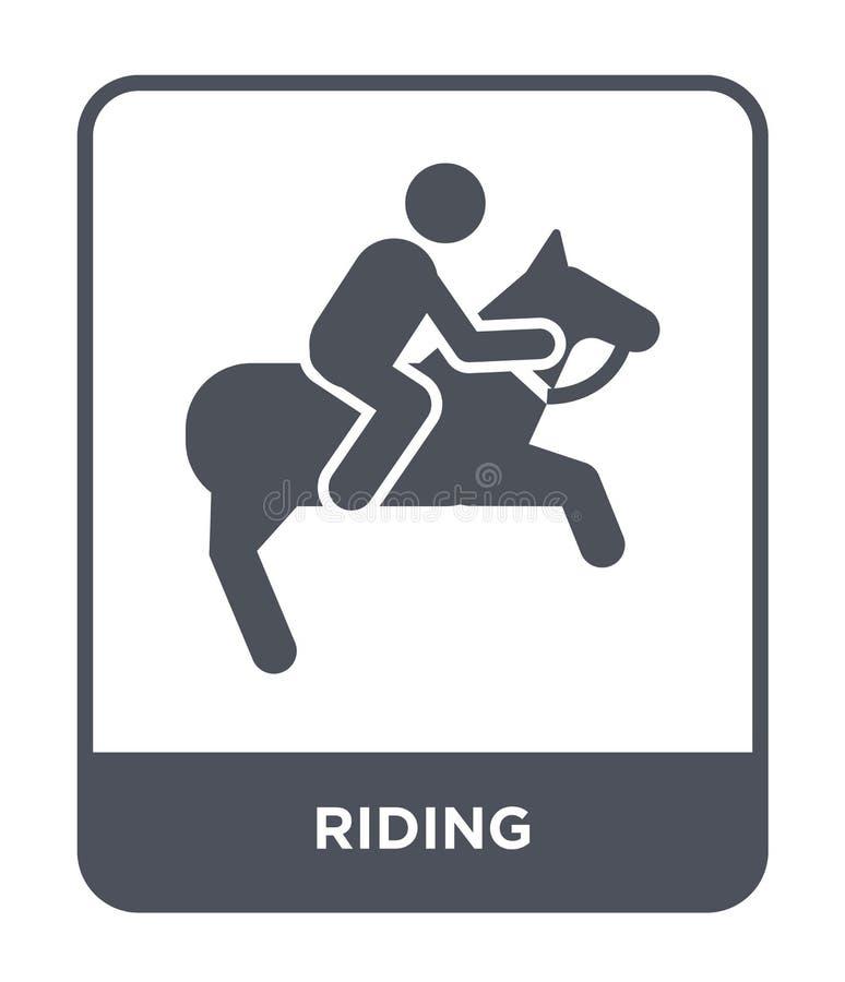 jeździecka ikona w modnym projekta stylu jeździecka ikona odizolowywająca na białym tle jeździeckiej wektorowej ikony prosty i no ilustracji