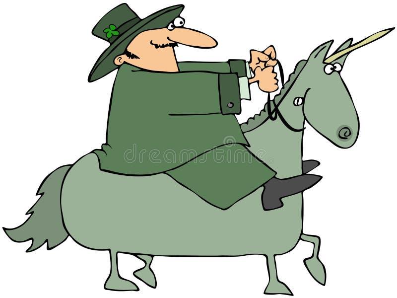 jeździecka leprechaun jednorożec royalty ilustracja