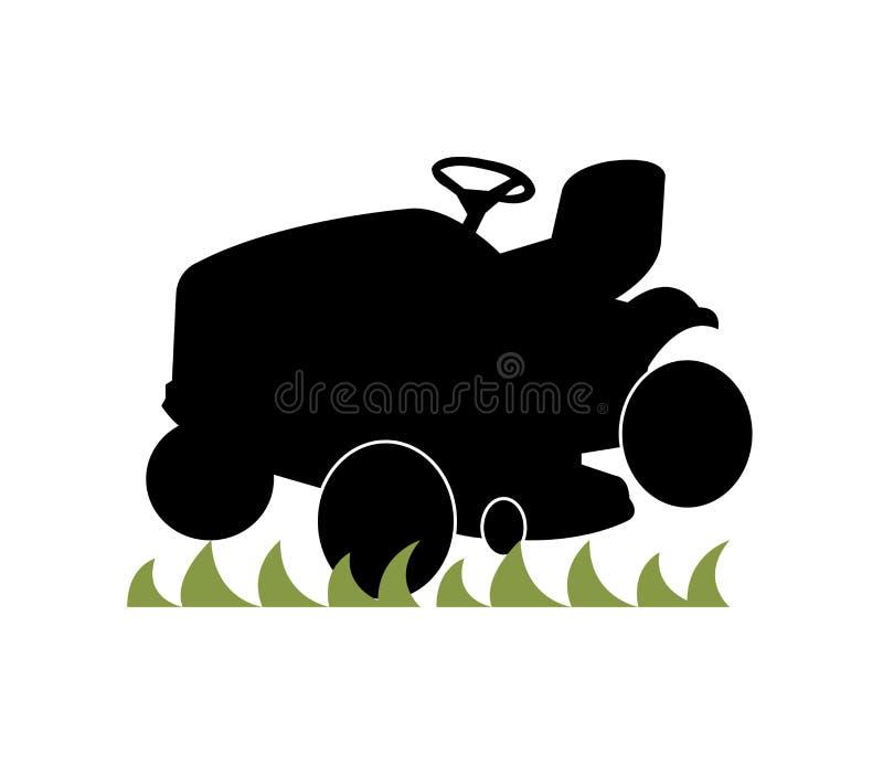Jeździecki kosiarz na zielonej trawie ilustracja wektor