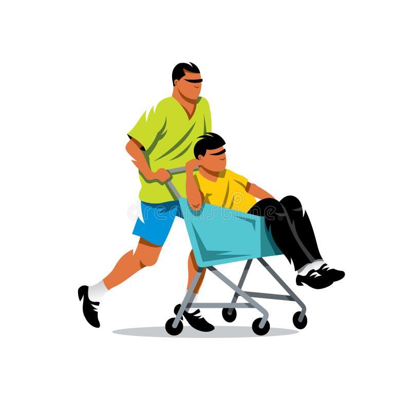 Jeździecki supermarketa wózek na zakupy chłopiec kreskówka zawodzący ilustracyjny mały wektor ilustracja wektor
