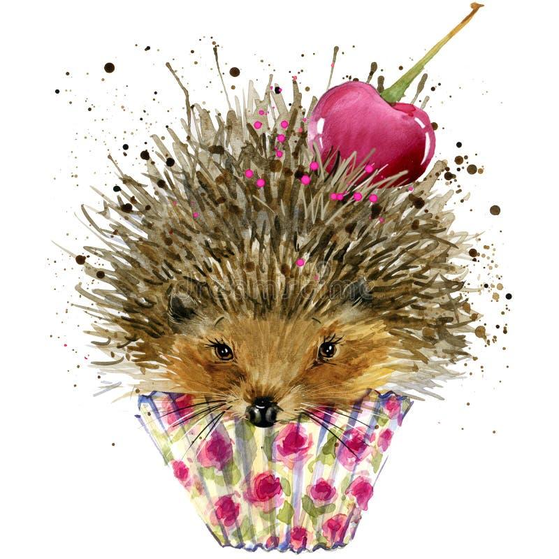 Jeż, deser z czereśniowymi koszulek grafika i ilustracja z pluśnięcie akwarelą, jeża i deseru textured tło Ja