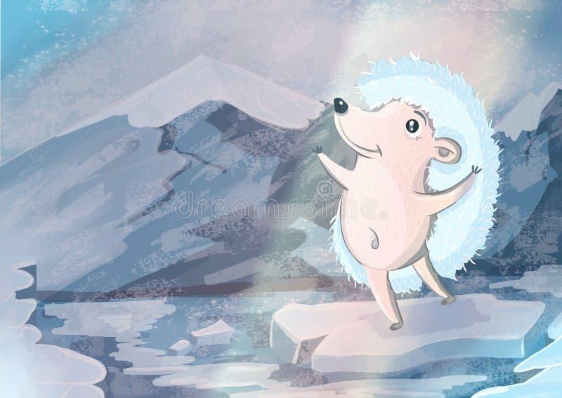 Jeż na lodzie ilustracji