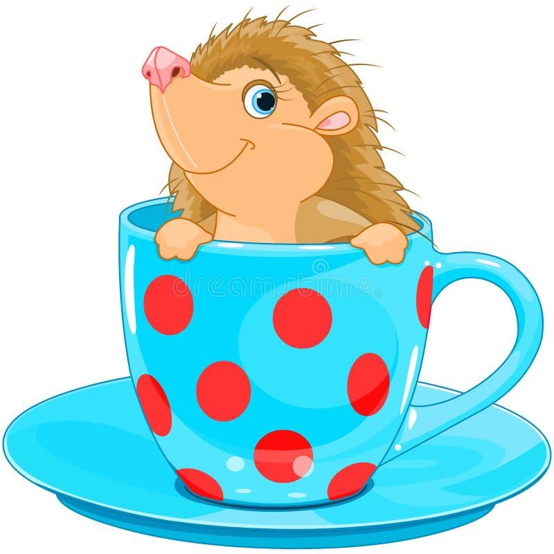 Jeż w herbacianej filiżance ilustracja wektor