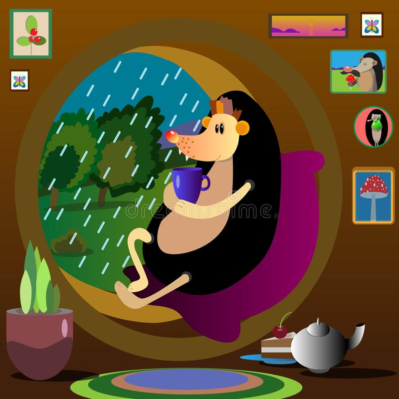 Jeża wektoru deszczu wygodnych drzew herbaciany dom ilustracja wektor