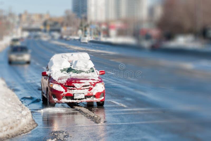 Jeżdżenie bez ruchu w sezonie zimowym fotografia royalty free