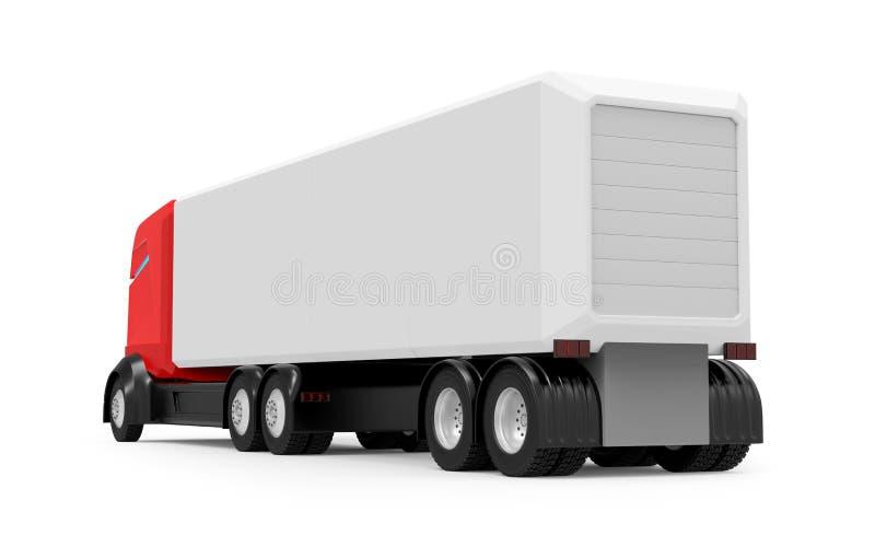 Jeżdżenie czerwieni ciężarowy futurystyczny plecy royalty ilustracja