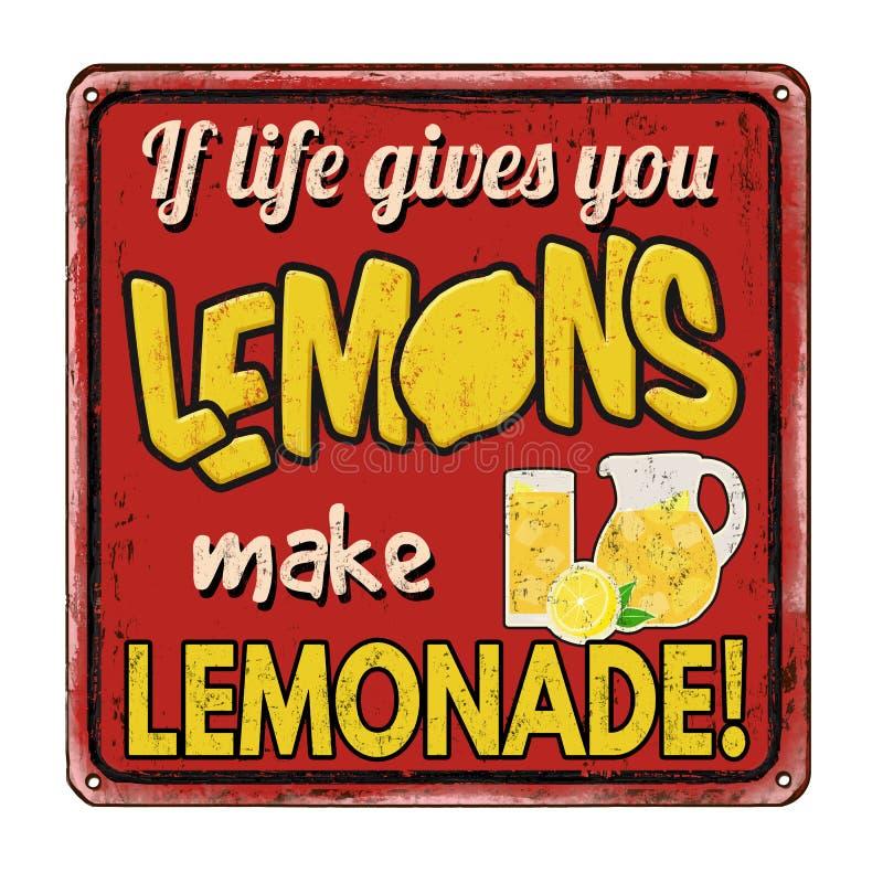 Jeżeli życie daje ciebie cytryny robią lemoniada rocznikowi ośniedziałemu metalowi podpisywać royalty ilustracja