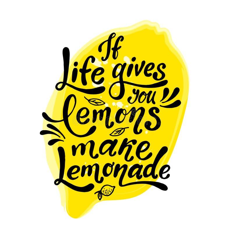 Jeżeli życie daje ciebie cytryny robią lemoniadzie Ręcznie pisany motywacja plakat Nowożytny unikalny literowanie również zwrócić ilustracji