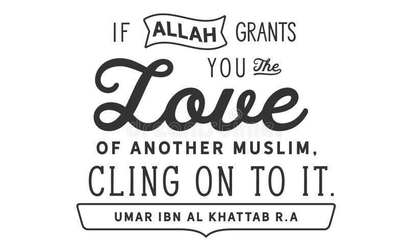 Jeżeli Allah użycza ci miłości inny muzułmański, przylega dalej ono Umar ibn Al Khattab r A ilustracja wektor