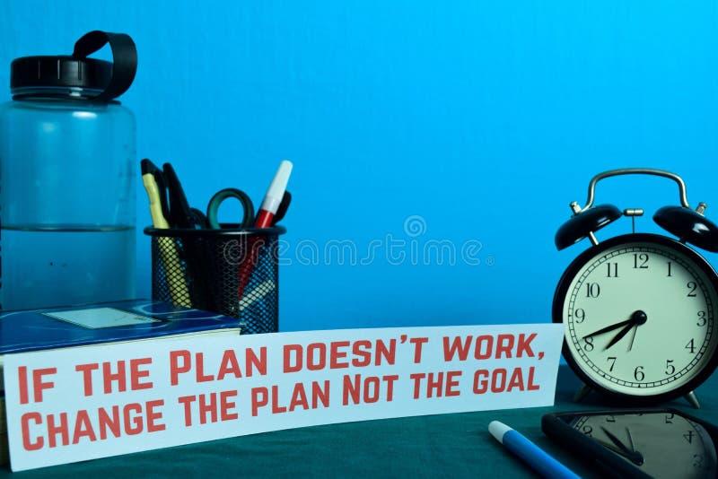 Jeżeli plan no pracuje, Zmienia plan Nie bramkowy planowanie na tle Pracujący stół z Biurowymi dostawami zdjęcia royalty free