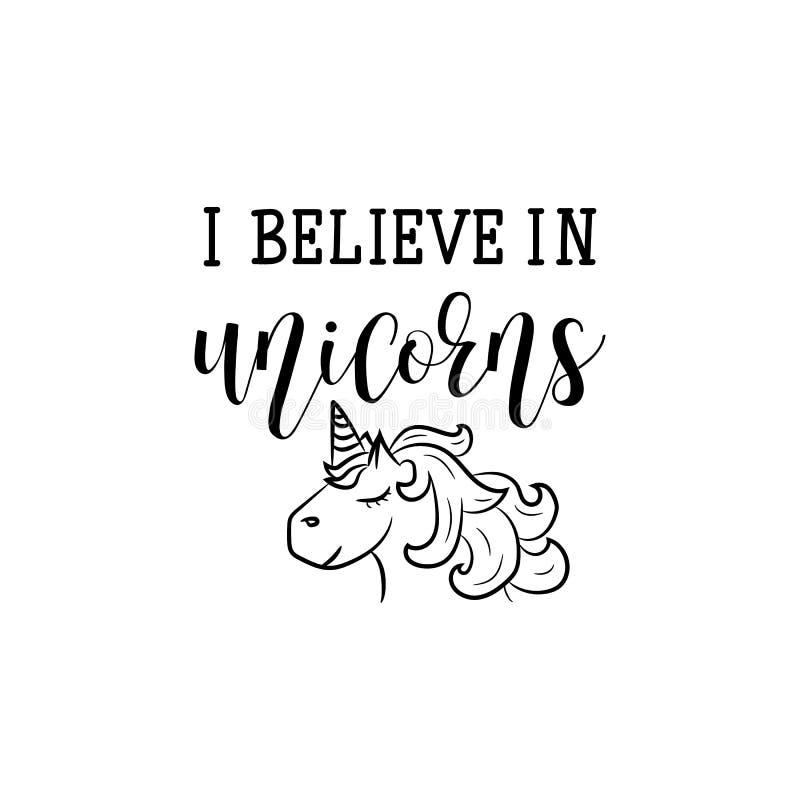 Je crois en licornes lettrage Illustration de vecteur de calligraphie illustration de vecteur