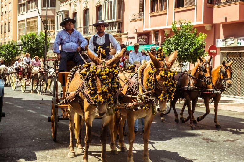 Je?dzowie i frachty przy Feria de Malaga fotografia royalty free