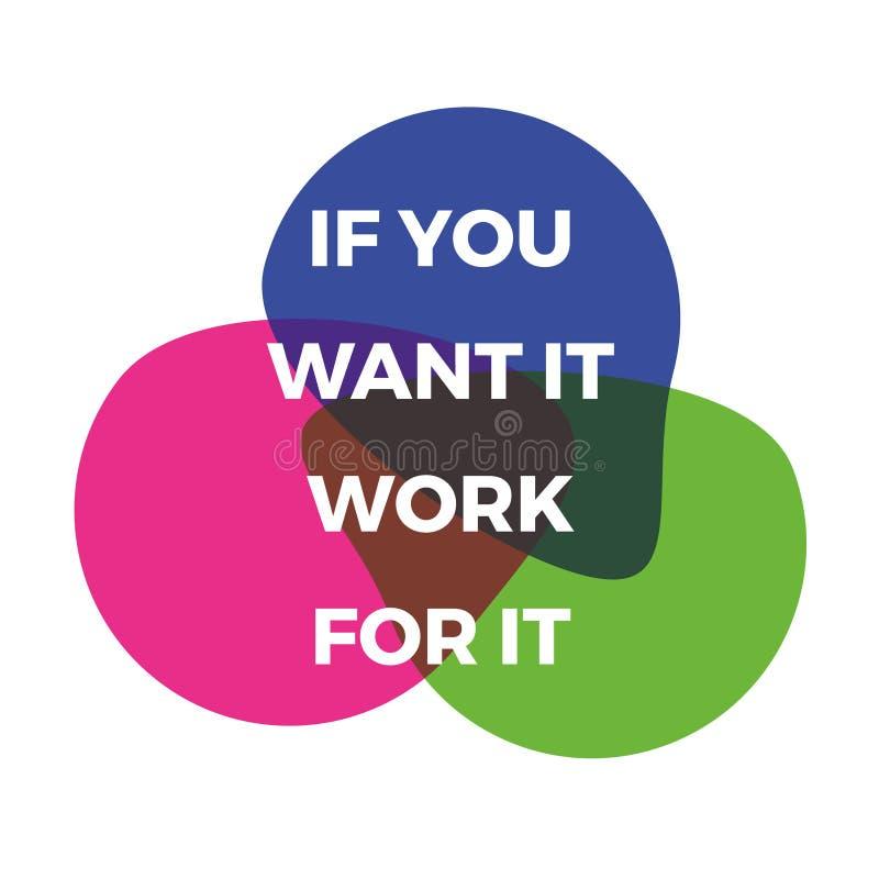 Je?eli ty chcesz mnie pracowa? dla go Motywacyjna inspiruje wycena Wektorowy typographi ilustracji