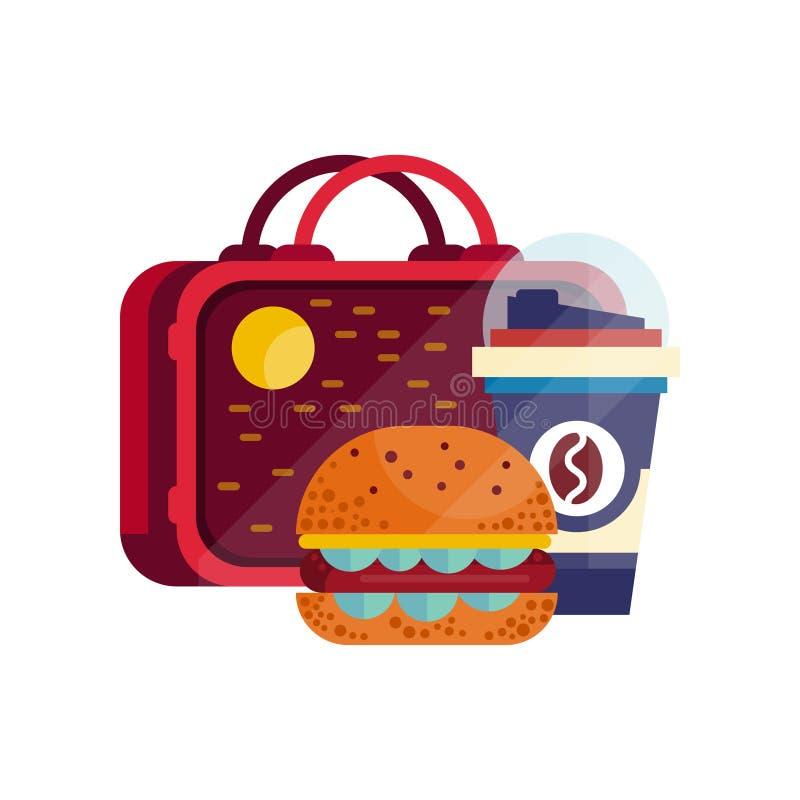 Je lunch torbę z hamburgerem, filiżanka kawy, zdrowy jedzenie dla dzieciaków i ucznie, dziecko lunchu czasu wektoru ilustracja ilustracja wektor