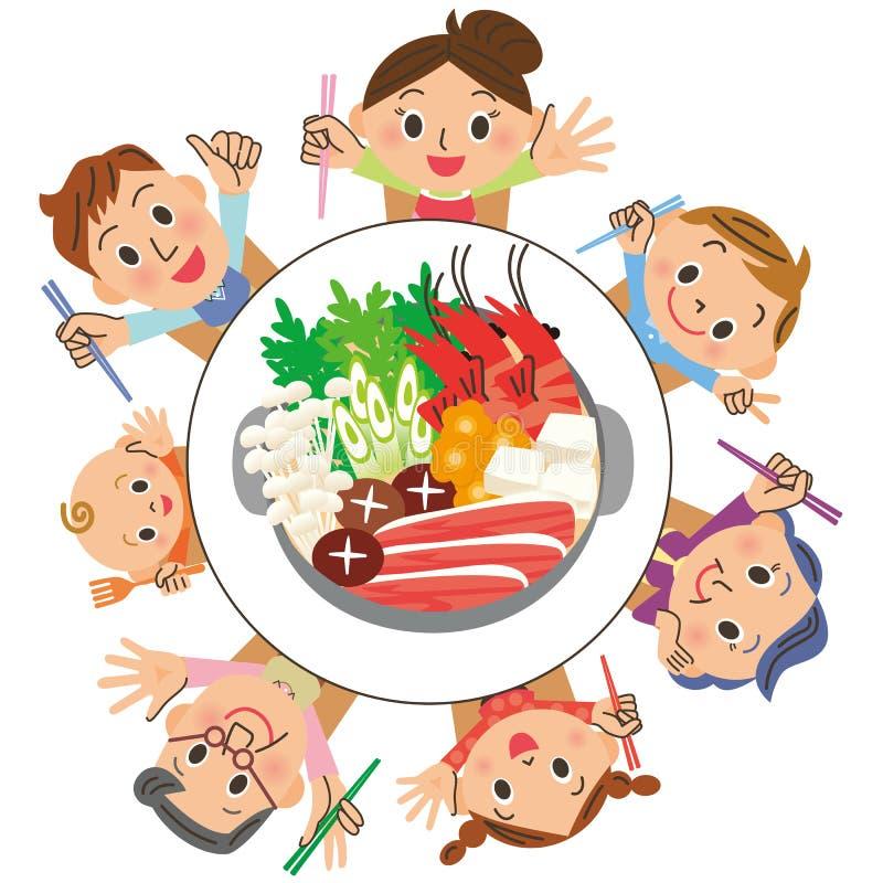 Je mange une casserole dans les familles illustration de vecteur