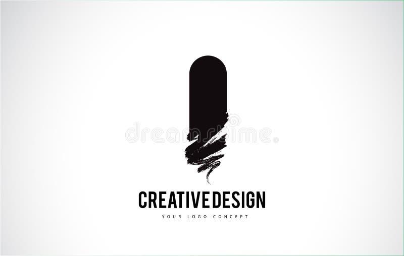 Je marque avec des lettres Logo Design Brush Paint Stroke Paintbru noir artistique illustration de vecteur