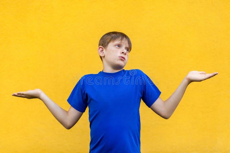Je ne sais pas Jeune garçon couvert de taches de rousseur confus images libres de droits