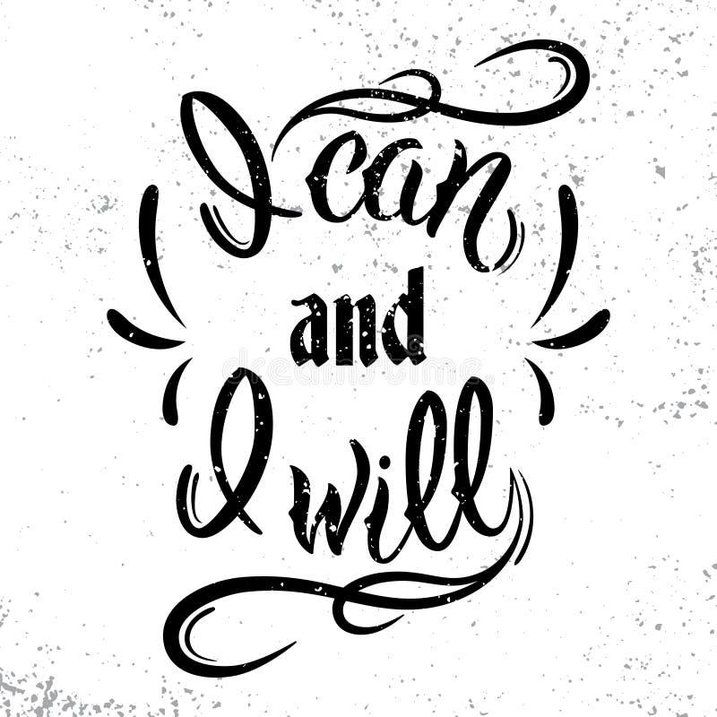 Je peux et je vais le faire Citation de motivation et inspirée illustration de vecteur