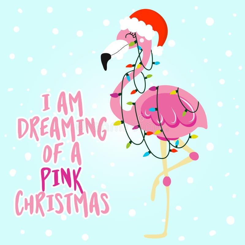 Je rêve de Noël rose illustration de vecteur