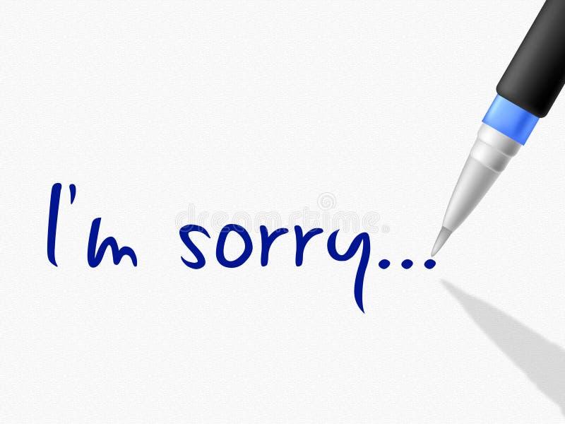 Je suis désolé représente le contact et la communication de regret illustration stock