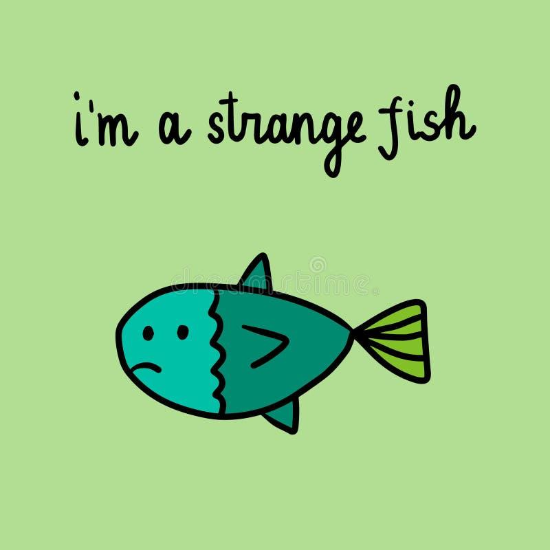Je suis une illustration tirée par la main de poissons étranges avec les poissons tristes illustration stock