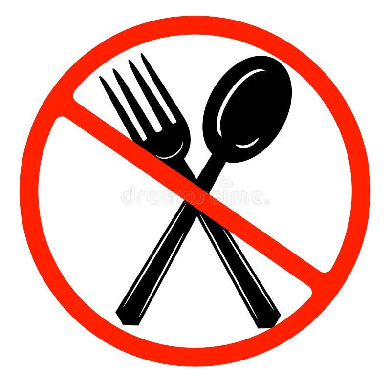 Je szyldow? ikon? Cutlery symbol Rozwidlenie i ?y?ka Rewolucjonistka zabraniający znak przesta?, symbol royalty ilustracja