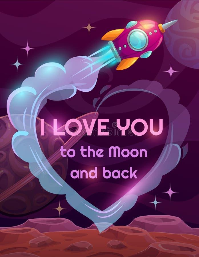 Je t'aime à la lune et au dos illustration de vecteur