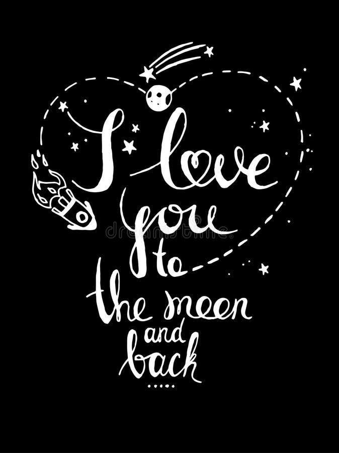 Je t'aime à la lune et au dos Affiche tirée par la main romantique de typographie illustration libre de droits