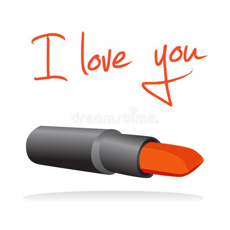 Je t'aime écrit avec le rouge à lievres illustration libre de droits
