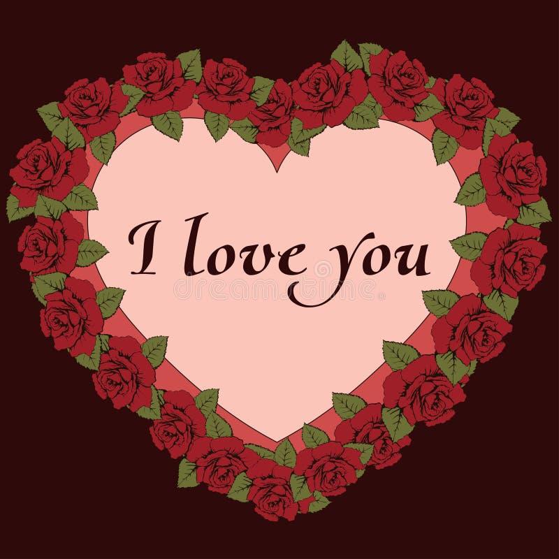 Je t'aime bannière Cadre de vintage un en forme de coeur avec les fleurs et le label de roses pour le texte Carte, reconnaissance illustration stock