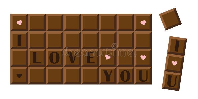 Je t'aime barre de chocolat avec des coeurs illustration libre de droits