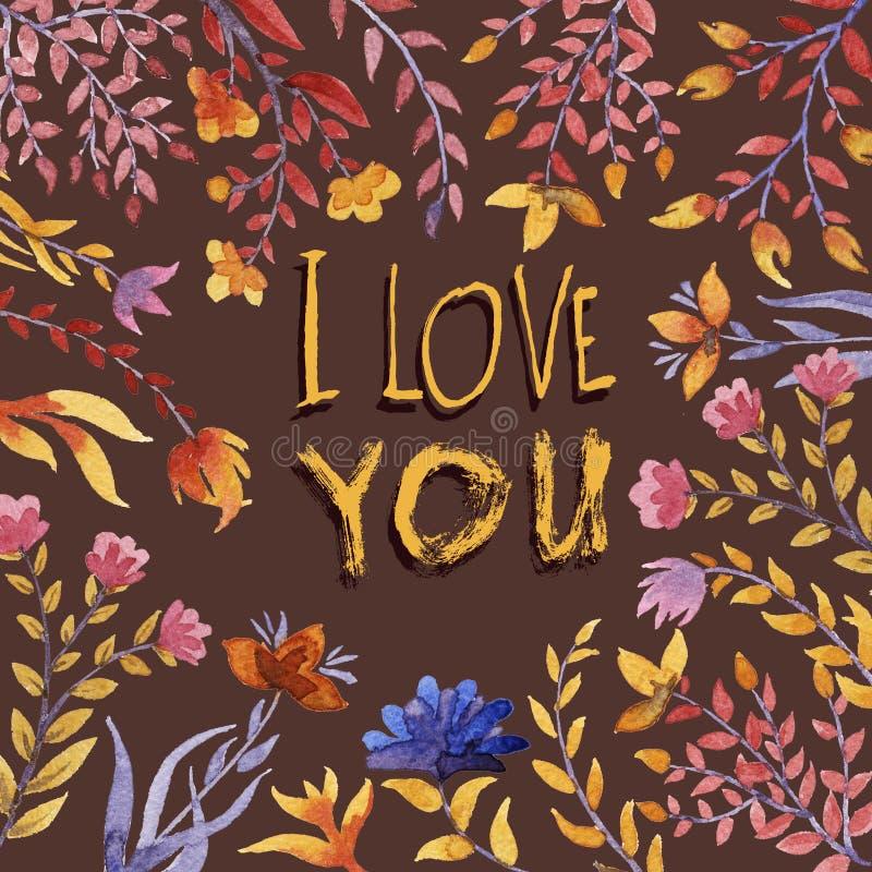 Je t'aime bouquet floral d'aquarelle illustration stock