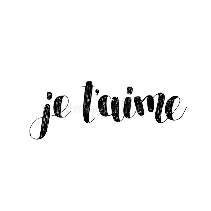Stock Quote For T: Je T Aime. Brush Lettering Illustration. Stock Vector