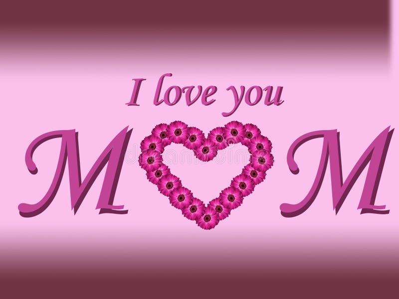Je t'aime carte du jour de mère des textes de maman avec le coeur de marguerite et le fond de gradient photographie stock libre de droits