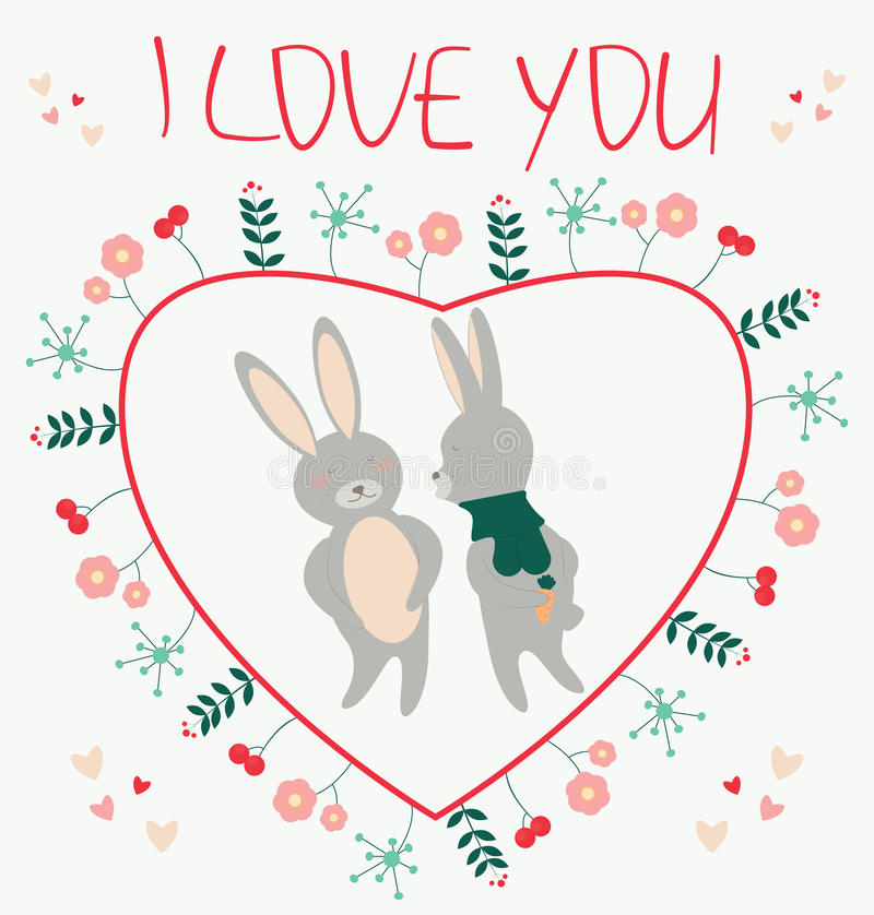 Je t'aime Carte romantique avec l'illustratio d'amants de lapins de couples illustration stock