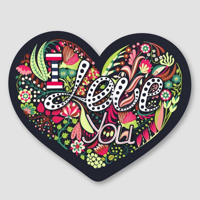Je t'aime Coeur floral Fleurs créatives tirées par la main Jour heureux du `s de Valentine roman Vacances en février illustration de vecteur