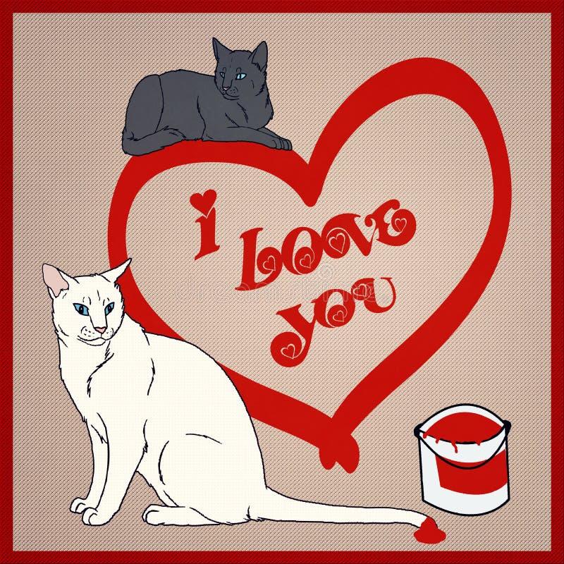 Je t'aime - collection de chats illustration de vecteur