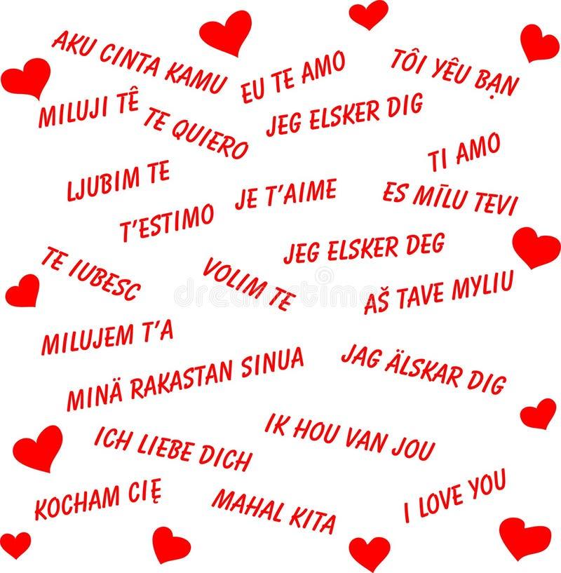 Je t'aime dans tous les langages du monde illustration de vecteur