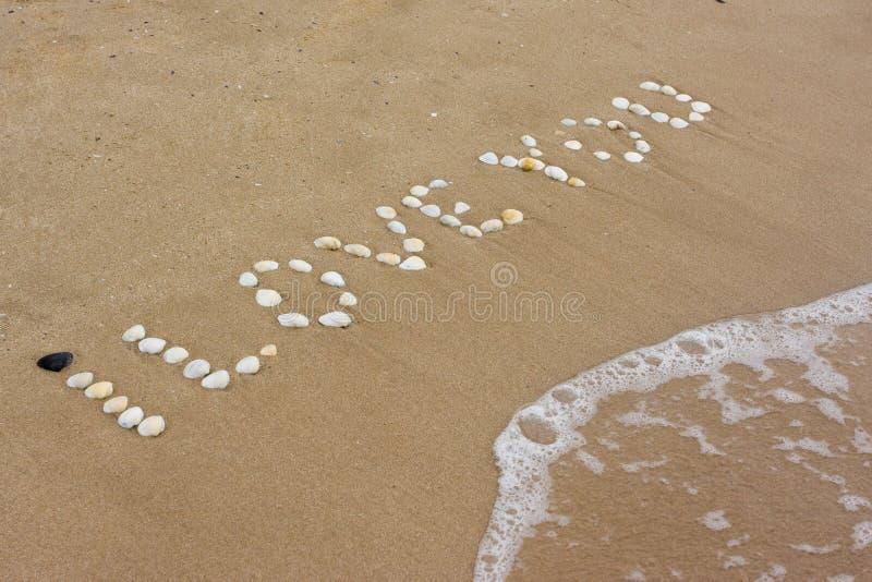 Je t'aime en sable photographie stock