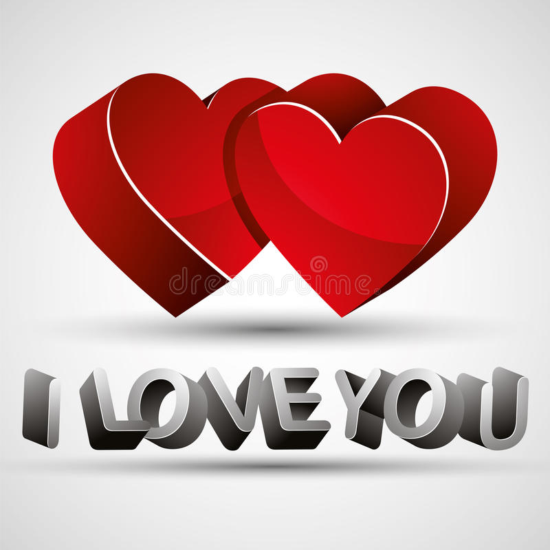 Je t'aime expression faite avec les lettres 3d et l'isolat rouge de deux coeurs illustration de vecteur