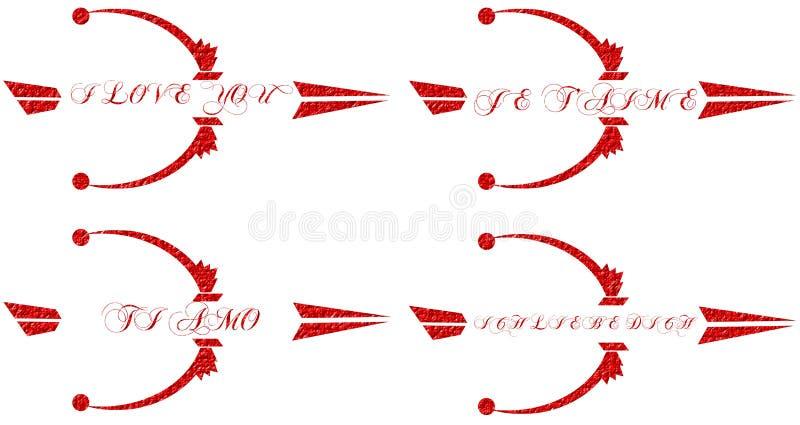 Je t'aime flèches d'isolement dans différentes langues illustration de vecteur